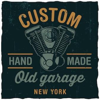 Ancienne affiche de garage personnalisée avec moteur de moto dessiné à la main sur fond noir