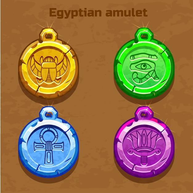 Ancienne amulette égyptienne colorée