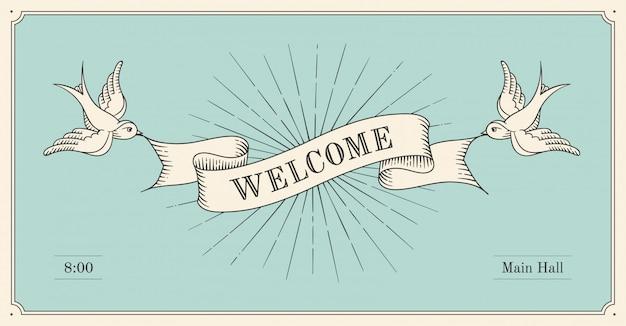 Ancienne bannière de bienvenue de ruban vintage en style de gravure