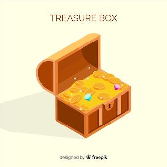Ancienne boîte aux trésors au design plat