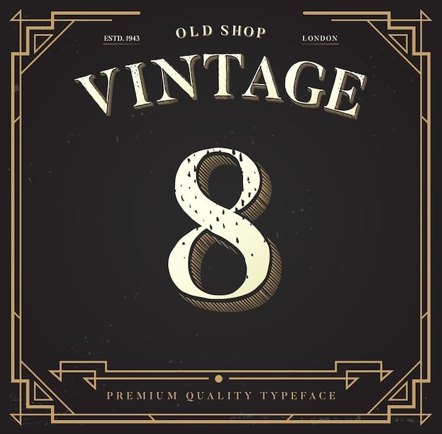 Ancienne boutique, étiquette vintage. numéro 8 avec style classique
