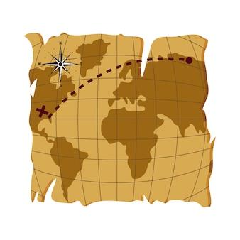 Ancienne carte globale de l'estination de l'amérique