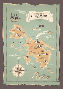 Ancienne carte de pirate en papier avec des bords irréguliers dans un style grunge pour l'illustration de la chasse aux trésors