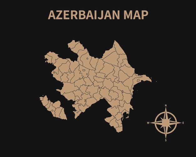 Ancienne carte vintage détaillée de l'azerbaïdjan avec boussole et frontière de région isolé sur fond sombre