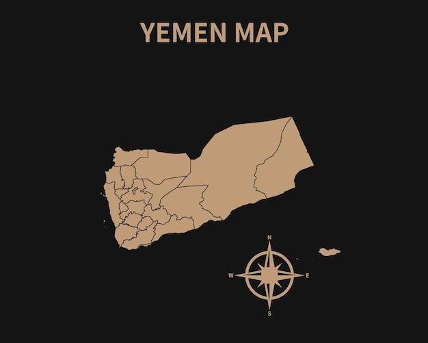 Ancienne carte vintage détaillée du yémen avec boussole et frontière de la région isolé sur fond sombre