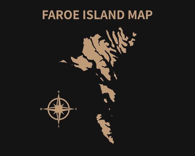 Ancienne carte vintage détaillée de l'île féroé avec boussole et frontière de la région isolé sur fond sombre