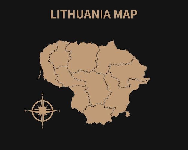 Ancienne carte vintage détaillée de la lituanie avec boussole et frontière de la région isolé sur fond sombre