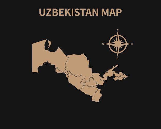 Ancienne carte vintage détaillée de l'ouzbékistan avec boussole et frontière de la région isolé sur fond sombre