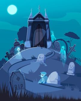 Ancienne chapelle du cimetière et fantômes marchant parmi l'illustration de dessin animé de pierres tombales