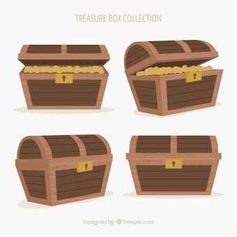 Ancienne collection de coffre au trésor avec un design plat