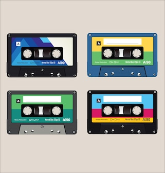 Ancienne collection de fond de cassettes audio colorées