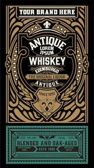 Ancienne conception d'étiquettes pour l'étiquette de whisky et de vin