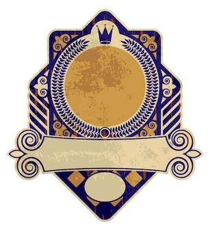 Ancienne étiquette vintage ou logo, style héraldique