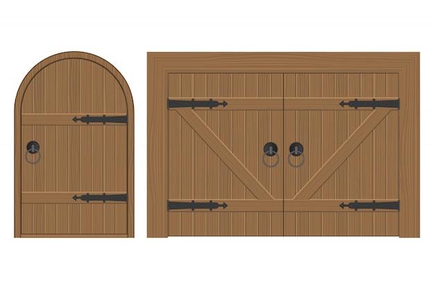 Ancienne illustration de porte en bois isolé sur blanc