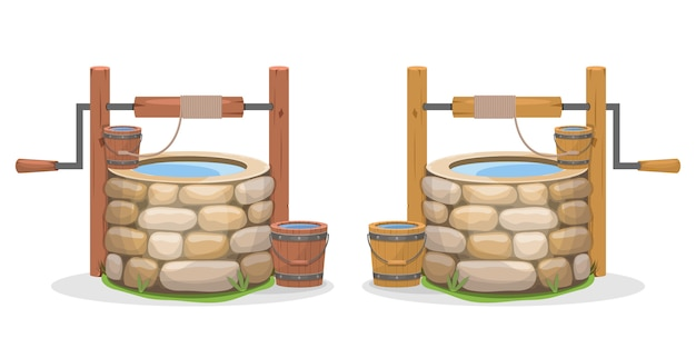Ancienne illustration de puits d'eau sur fond blanc