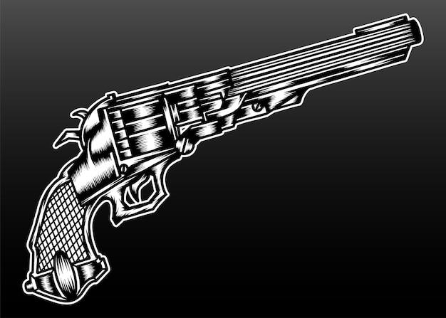 Ancienne illustration de shortgun isolée sur fond noir