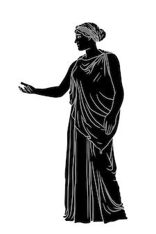 Une ancienne jeune femme grecque dans une tunique et une cape se dresse et fait des gestes.