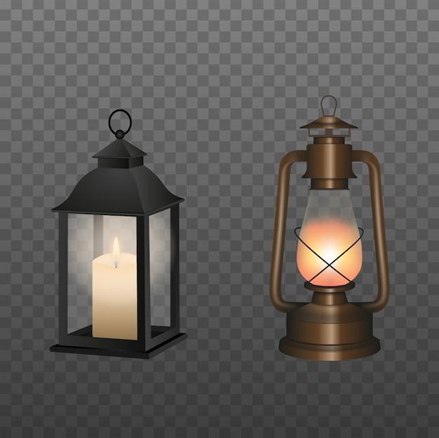 Ancienne lampe à huile et lanterne