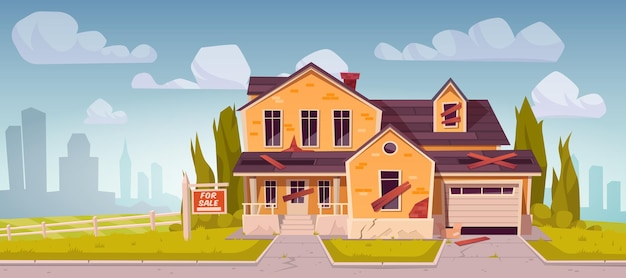 Ancienne maison de banlieue avec signe à vendre
