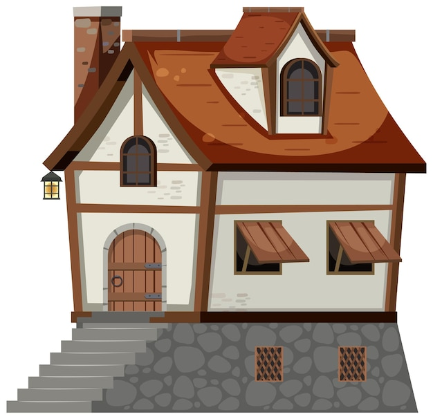 Ancienne maison médiévale isolée sur fond blanc