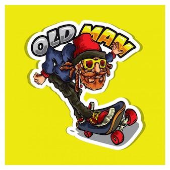 Ancienne mascotte de logo de skateur