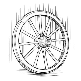 Ancienne roue de charrette en bois dessin noir et blanc dessin vintage