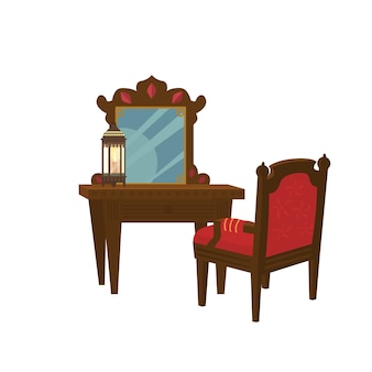 Ancienne table de toilette en bois avec chaise.
