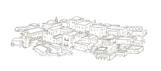 Ancienne ville avec de vieux bâtiments d'architecture orientale dessinés à la main avec des lignes de contour sur fond blanc. dessin monochrome de jérusalem ou de bagdad. beau paysage urbain. illustration