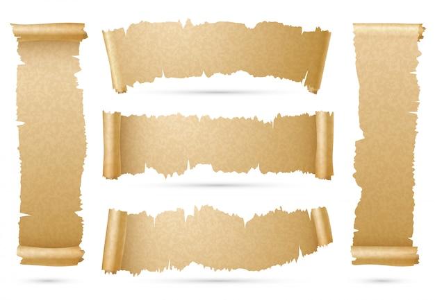Anciennes bannières de ruban de rouleau de papier verticales et horizontales