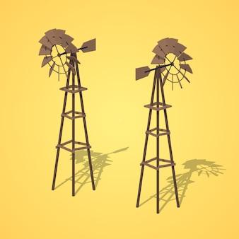 Anciennes éoliennes isométriques lowpoly 3d