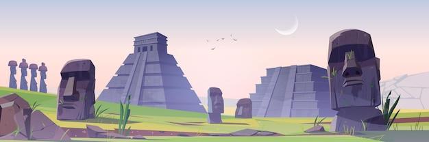 Anciennes pyramides mayas et statues moai sur l'île de pâques