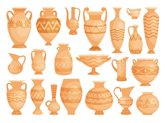 Anciens pots décoratifs isolés sur blanc