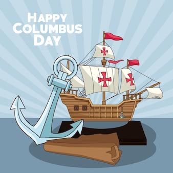 Ancre et carte, conception de jour heureux columbus