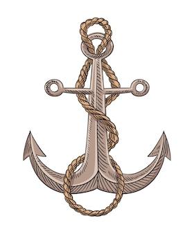 Ancre et corde croquis gravure illustration vectorielle. image de conception d'impression dessinée à la main. symbole nautique dans un style vintage. dessin rétro