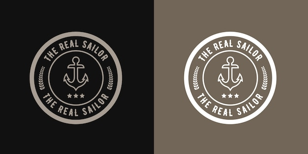 Ancre logo marin rétro style rétro, conception nautique rétro hipster avec modèle de roue de navire