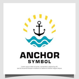 Ancre avec logo vague et soleil