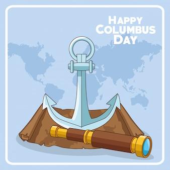 Ancre et longue-vue de la conception du jour heureux de columbus