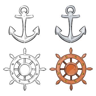 Ancre de personnage de dessin animé et roue de mer isolée