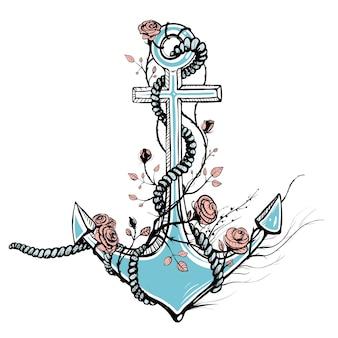 Ancre avec roses marine marine et conception de bateaux logo ou illustration vectorielle de tatouage pour les marins