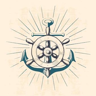Ancre avec roue de navigation, illustration dessinée à la main