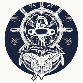 Ancre, volant, papillon, tatouage