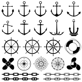 Ancres, gouvernails, chaîne, corde, icônes vectorielles noeud. éléments nautiques pour la conception marine