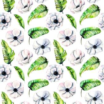 Anémones blanches de modèle sans couture et feuilles exotiques vertes