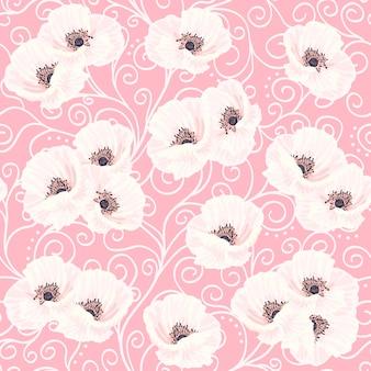 Anémones blanches sur le modèle sans couture rose