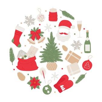 Anew years set handdrawn de nombreux éléments arbre de noël cloches boule champagne cadeaux guirlande