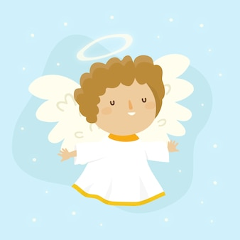 Ange adorable dessiné à la main noël