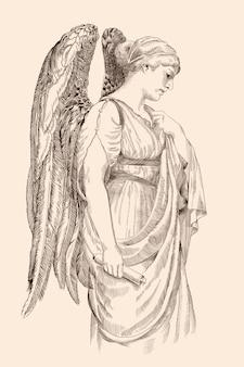 Un ange avec des ailes tient dans sa main un rouleau de papyrus de profil.