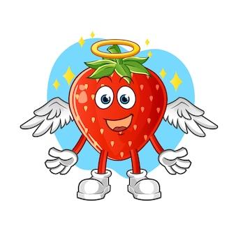 Ange aux fraises avec des ailes