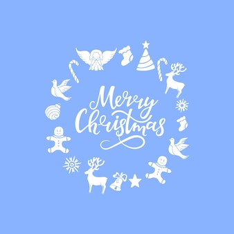 Ange, cerf, sucette, bonhomme en pain d'épice, cloche, colombe. décorations du nouvel an. joyeux noël lettrage dessiné à la main. cadre rond. carte de voeux.