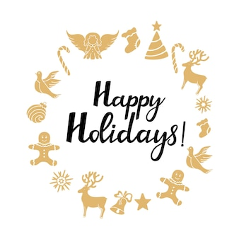 Ange, cerf, sucette, bonhomme en pain d'épice, cloche, colombe. décorations du nouvel an. lettrage dessiné à la main de joyeuses fêtes. cadre rond carte de voeux